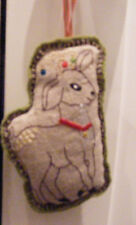 NWT Crate & Barrel Cynthia Treen Linen Embroidered Deer Christmas Ornament