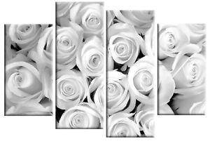 "WHITE GREY ROSES CANVAS FLORAL FLOWER PICTURE SPLIT MULTI PANEL ARTWORK 40"""