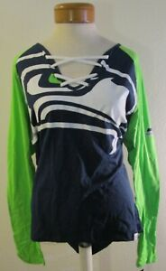 NWT Majestic Seattle Seahawks Womens L/S Lace-Up V-Neck T-Shirt XL Navy MSRP$45