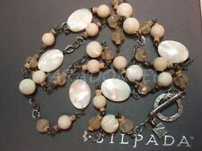 SILPADA RARE Sterling Silver 925 Faceted Mother of Pearl Quartz Necklace N1504 C