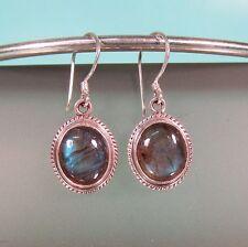 """3/4"""" Labradorite Gemstone Crystal Handmade 925 Sterling Silver Drop Earrings"""