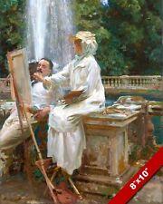 WOMAN ARTIST OIL PAINTING IN ITALIAN GARDEN W FOUNTAIN ART PRINT ON REAL CANVAS