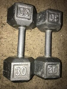 30 lb Pair Hex Cast Iron Dumbbells USA SHIPS ASAP!  60lbs Total Used Hand Weight