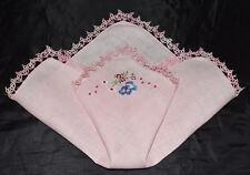 vintage handkerchief HAND TATTING shabby cottage chic CHEERFUL FLOWERS hanky