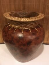 """Beautiful Leather Look Pottery Vase with a Hand Woven Reed Neck 8 1/4"""""""