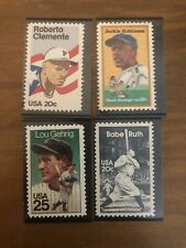 Lot of 4 US Postage Stamps of Baseball; Ruth, Gehrig, Clemente, Jackie Robinson