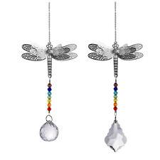 Longwin Set 2 Dragonfly Crystal Prisms Suncatcher Handmade Pendant Garden Decor