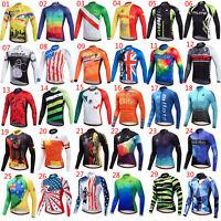 Miloto Men's Cycling Jersey Long Sleeve MTB Bike Cycle Shirt Top Full Zip S-XXXL