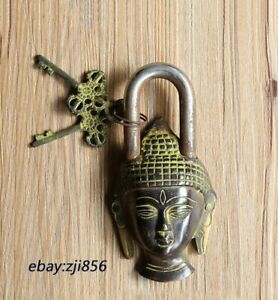 Chinese old Buddhism Bronze Shakyamuni Buddha Head Statue lock-up Key