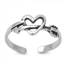 Silver 925 Face Height 6 mm Adjustable Heart With Arrow Toe Ring Solid Sterling