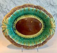 """Antique Majolica English Majolica Wheat Bread Plate Tray 19th Century 13"""""""