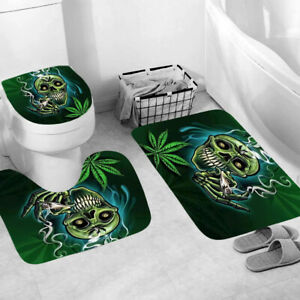 Smoke Bathroom Rug Set Shower Curtain Thick Non Slip Toilet Lid Cover Bath Mat