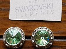Elementos SWAROVSKI GENUINOS 13mm Verde crisólito Cristal Aretes - £ 20!