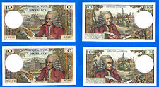 Lot 2 Consecutive France 10 Francs 1972 2 March Voltaire Frcs Frcs Free Ship Wld