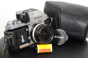 Lovely 1971 NIKON F PHOTOMIC FTN 35mm Film Camera + 28mm f3.5 + case...working!