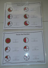 Two laminated Watermelon Fractions Dry Erase Tracing Worksheets. Math, Fractions