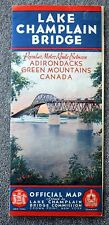 1936 LAKE CHAMPLAIN BRIDGE MAP New York CANADA Vermont ADIRONDACKS VT NY