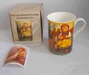 M.J. Hummel Young Girl Holding Heart Decoration Ceramic Coffee Mug Goebel in Box