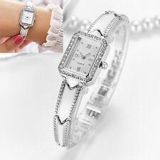 Damen Armbanduhr Quarz Analog Edelstahl silber Damenuhr eckig Strass 18 cm Neu
