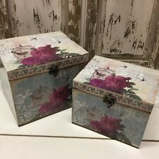 2 Wooden Hinged Boxes with Bird Cage Flower Mini Chests Vintage French Box
