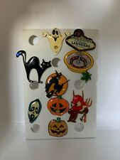 Lot of 11 Vintage Halloween Vegas Flashing Light Up Badge Brooch Pins Party