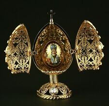 """St Petersburg Russian Faberge Egg: Filigree Religious Egg with St Nicholas, 4"""""""