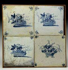 17th century Antique Dutch blue glaze tiles collection (4) Floral fruit baskets