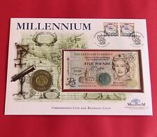 GUERNSEY 1999 2000 BU MILLENNIUM £5 CROWN & BANKNOTE PAIR - first day coin cover