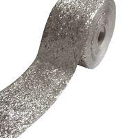 (5.20 EUR/Meter) Exclusive Glitzerborte Flitter Borte silber 10cm breit