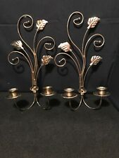Vintage Home Interior Homco Brass Scroll Wall Sconce 2 Votive leaves Floral B17