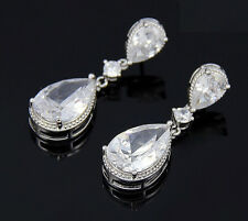 14k White Gold GP Earrings made w/ Swarovski Crystal Stone Bridal Bridesmaid
