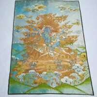 "36"" Tibetische Tuch Seide Buddhismus Mahakala Zorn Deity Tangka Thangka Wandbild"
