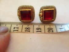 antique look £40 ruby red Crystal Square Earrings In Gold plated  Plating - 16mm