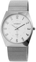 Akzent Herrenuhr Weiß Silber Analog Metall Meshband Armbanduhr Quarz X2300006003