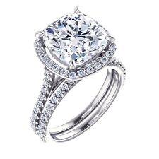 2.14 Ct Cushion Cut Halo Round Diamond Engagement Bridal Set E, IF