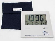 Vintage Disney Donaldson 2000 Digital Silver Clock with Blue Fabric Case