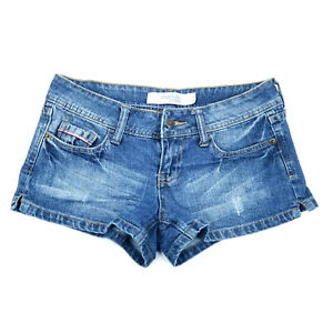 Charlotte Russe Denim Jeans Low Rise Shorts Womens Size 2 Booty Medium Wash Blue