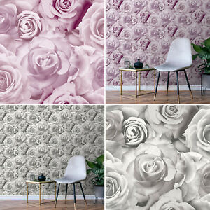 Glamour Wallpaper Floral Flower Rose Pink Grey Lilac Blush Silver Soft Light 3D