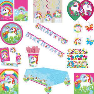 Unicorn Rainbow Birthday Party Range Girls Children Decorations Tableware Kids