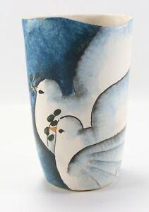 Vintage Studio Signed Catherine Georganda White Dove Bird Painted Vase Pottery