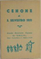CENONE SAN SILVESTRO 1951 MENU CAPODANNO CUCINA COOKING RICETTE MILANO EMILIO
