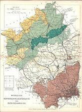 Antique map, Middlesex, Hertfordshire, Bedfordshire and Buckinghamshire
