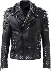 Men's Brando Rock Punk Spike Studded Motorcycle Black Biker Leather Jacket