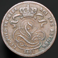 1861 | Belgium Leopold I 1 Centime | Copper | Coins | KM Coins