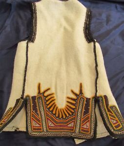 ANTIQUE ETHNIC MACEDONIAN WOMAN'S FOLK COSTUME WOVEN EMBRRY VEST WAIST COAT