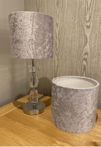 Pair Of Silver Velvet Lampshades 20cm Diameter Ideal For Side Tables