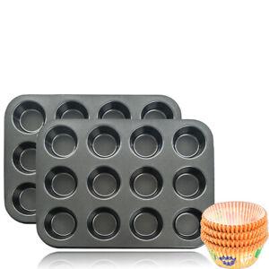 2x 12er Muffinform Backform Backhilfe Muffinförmchen Backblech Blechform Cupcake