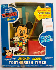 RARE NIB! Vintage Walt Disney Battery Operated Toothbrush & Mickey Mouse Timer