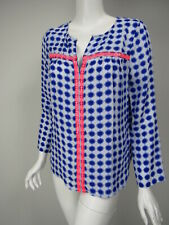 VINEYARD VINES White Blue Print Silk Neon Pink Mirror Detail Blouse sz S