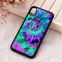 Purple Tie Dye Swirl Phone Case iPhone X 11 12 Mini Pro Max Soft Silicone Cover